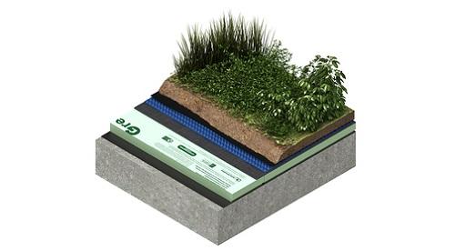 绿色屋顶排水层构造层,塑料排水板起主导排水作用。