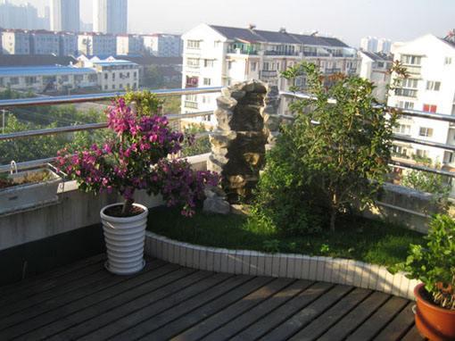用蓄排水板制作成的屋顶花园绿化