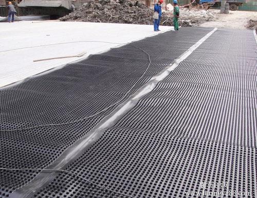 楼顶绿化排水板施工展示